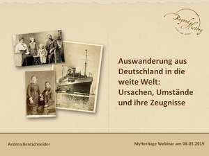 title slide for the MyHeritage webinar on emigration from Germany, 2019