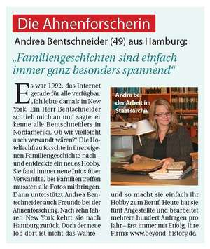 Article in the German magazine Lea on Andrea Bentschneiders path to professional genealogy